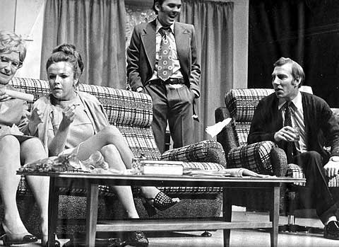 Julie Walters, Kevin Lloyd and Pete Postlethwaite in the Everyman Theatre's prodcution of Breezeblock Park