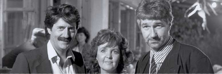 Willy with Pauline Collins and Tom Coast on the film set of Shirley Valentine