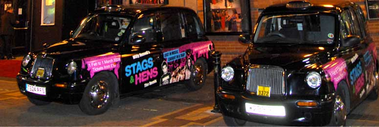 Liverpool Taxis advertising Stags & Hens at the Royal Court