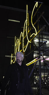 'Words' chosen by Willy Russell for Front Row's Neon Sign at BBC Saltford